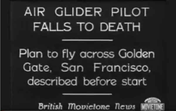1930 Air Glider Falls to Death